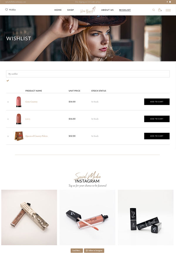 Wishlist page design